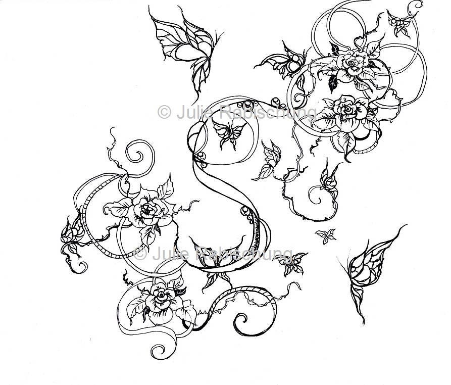 roses and butterflies coloring page art nouveau coloring