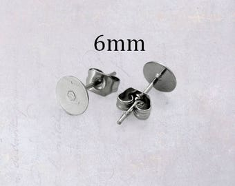 25 x Pairs Stainless Steel 6mm Pad Earring Studs with Backings