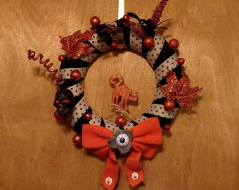 Orange Kitty Fabric Halloween Wreath