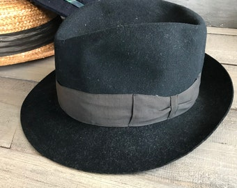 1940s French Black Fedora Hat, Felted Wool, Carcassonne