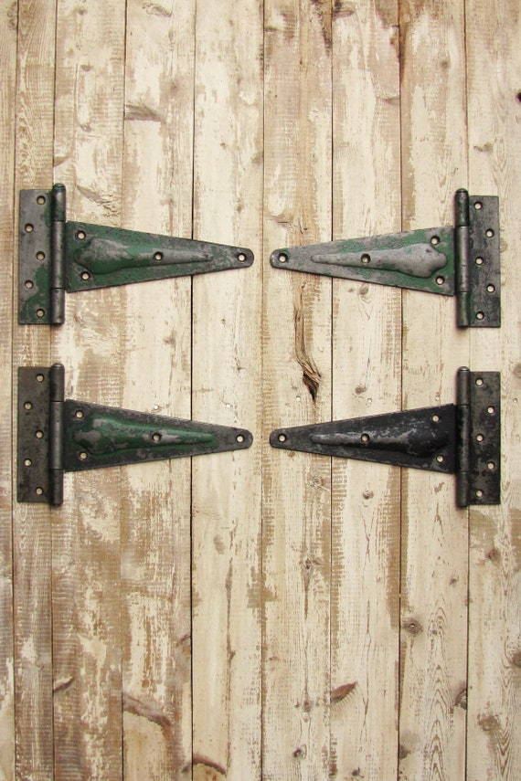 Vintage 4 Large Barn Door Strap Hinges Heavy Duty Steel Industrial