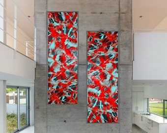"""Abstract turquoise, diptych, extra large wall art Original resin art paintings on 2 lg panels, """"Let It Bleed"""" oversized, modern home decor"""