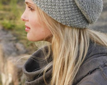 Woman wool and alpaca slouchy Beanie knitted with wheat, accessory fall winter hat, birthday gift Noël Valentine