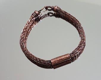 Copper Wire Men's Bracelet - Viking Knit Copper Bracelet - Wire Knitted Masculine Bracelet - Gentelmans Wire Bracelet - Gift for Him