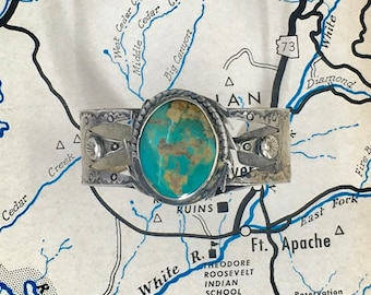 1950 Navajo Route 66 Silver and Turquoise Bracelet