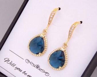 Navy Bridesmaid Earrings, Gold Navy Blue Bridesmaid Earrings, Wedding Jewelry, Cubic Zirconia, Wedding Earrings, Bridesmaid Jewelry