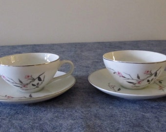 Two Cherry Blossom Cups and Saucers, Japan, More Available