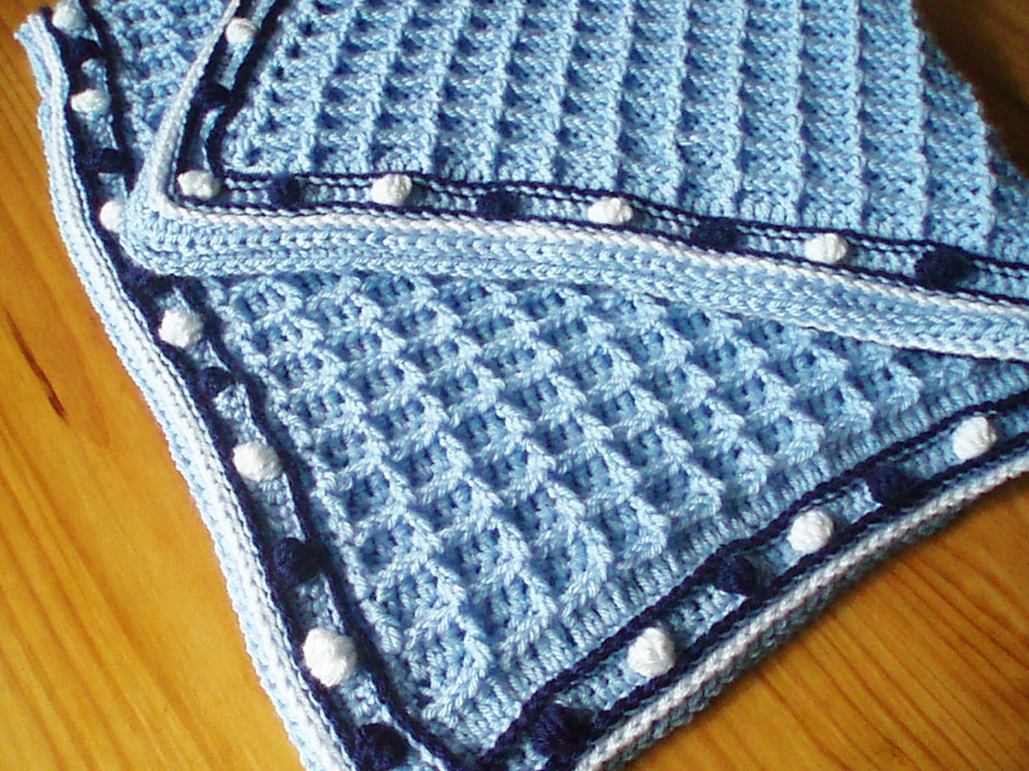Crochet Pattern for Baby Blanket in Waffle Weave with Bobble Trim ...