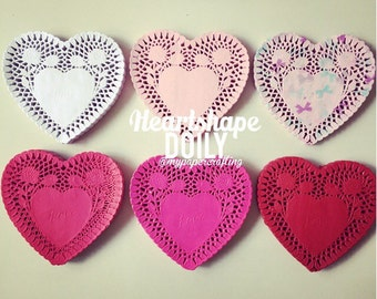 """6"""" inches heartshape colored Doily paper for Scrapbooks, card making, wedding decoration / pack"""