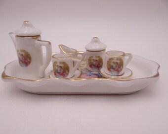 10PC Vintage Fragonard Courting Couple Miniature Tea Set - Doll Tea Set - Child Tea Set