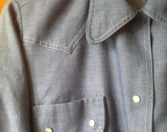 vintage 60's 70's chambray rounded collar shirt hippie mods mid century modern permanent press for men