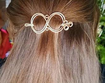 Infinity Hair Pin, Copper Hair Pin, Silver Hair Pin, Two Piece Hair Pin