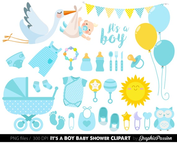 Marvelous Baby Boy Clipart Boy Baby Shower Clipart BLue Baby Clipart