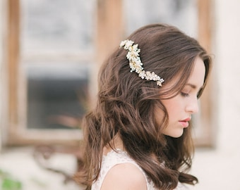 Gold floral hair comb, bridal headpiece gold , bridal hair comb - style 1116 - ready to ship - FREE SHIPPING*