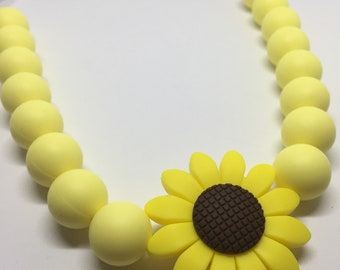 100% BPA free silicone sunflower and beads teething necklace