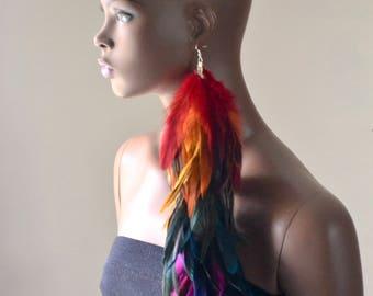 Very Long Rainbow Feather Earring,