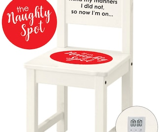 Personalized Wooden Time Out Chair with Timer - The Naughty Spot - Toddler/Children Chair