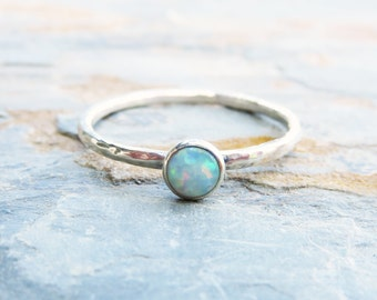 Fauxpal Ring in Sterling Silver - Faux Opal Hammered Stacking Ring - October Birthstone - Choose Blue or White Opal