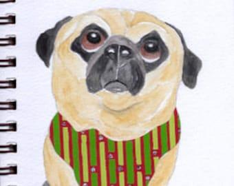 "Pug Print - Sketchbook Series - Watercolor & Collage - ""Peccadillo"""
