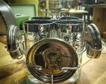 Kimiko Queens Lusterware Guardian Crest Silver Rim Highball Glass Set