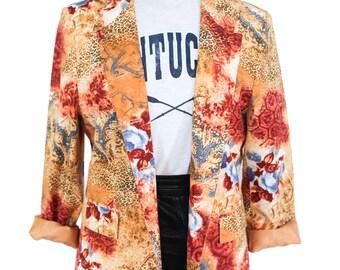 Vintage floral and  leopard print jacket / blazer UK