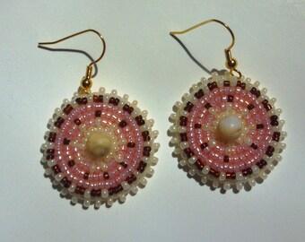 Handmade Dangle Earrings, Native Inspired Rosette Earrings, Pierced Drop Earrings, Custom Made, Circle Beaded Earrings, Mothers Day Jewelry