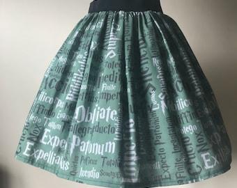 Handmade to order Ladies or girls Harry Potter Slytherin inspired wizard spells full skater style skirt