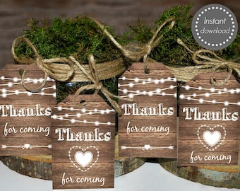 Rustic favor tags, Rustic thank you tags printable, rustic wedding favor tags, baby shower thank you tags, garden wedding, thank you cards,