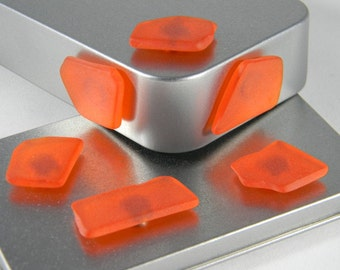 Orange Imitation Seaglass magnet set - Refrigerator magnets - office decor - Imitation Sea Glass - Beach Glass Magnet - SG02