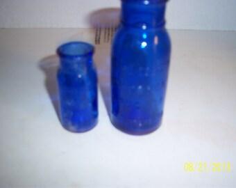 1920's Lot of 2 Bromo Seltzer Emerson Drug Co Baltimore, MD 2 1/2 to 4   inch cobalt blue medicine bottles No 5