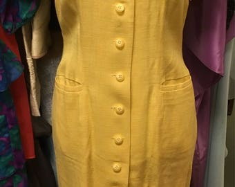 Vintage button up yellow dress