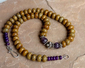 Brown & Purple Chunky Bead Necklace/Wood Jasper Carved Amethyst Ornate Sterling Silver Beads . Rustic Boho Tribal Southwest Style Jewelry
