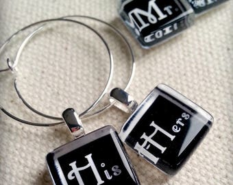 Mr Mrs and His Hers Glass Wine Charms - Perfect for the Bride and Groom Toasting Flutes on their Special Day - Bride and Groom Wedding Gift