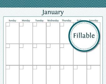 12 Month Portrait Calendar - Fillable - Perpetual Portrait Calendar - Wall Calendar, Desk Calendar -  Printable PDF - Instant Download