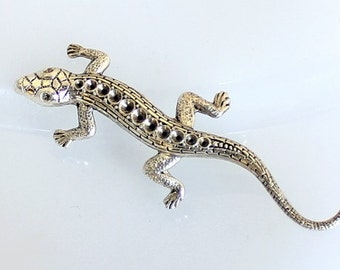1pcs--Lezard, Metal Stamping, Antique Silver, 58x21mm (B30-20)