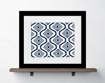 Moroccan Shibori Inspired Indigo Blue Pattern Print 8x10 or 11x14 tribal