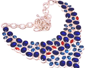 Blue Sapphire Ruby Blue Topaz Choker Fashion Jewelry Necklace Silver Plated