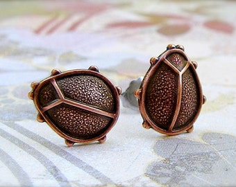 Copper Ladybug post earrings