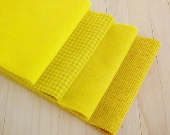 """Hand Dyed Felted Wool, DAFFODIL, Four 6.5"""" x 16"""" pieces in Bright Yellow, Perfect for Rug Hooking, Applique', and Crafts"""