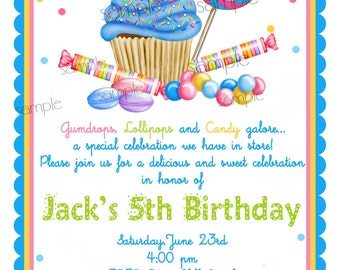 Candy invitations candy birthday party sweet shoppe cupcake invitations wonderland sweet shoppe invitations boys candy invitations cupcake candy lollipop birthday party filmwisefo