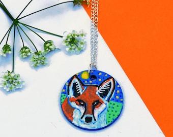 Fox Necklace, Quirky Jewellery, Red Fox Art, Woodland Animal Jewellery, Hand Painted Necklace, Original Handmade Jewellery, Fox Gift