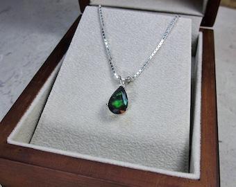 Genuine Black Opal Pendant, October Birthstone Jewelry, Natural Opal Pendant, Black Gemstone Jewelry, Fine Jewelry, Black Solitaire Necklace