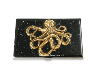 Antique Gold Octopus Business Card Case Inlaid in Hand Painted Enamel Black with Silver Splash Design Nautical Kraken Personalized Options