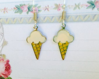 Ice Cream Cone Earrings, Vintage Earrings, Enamel Earrings