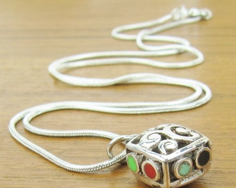 Sterling Silver Pendant and Chain puffy shadow box pendant charm multi color insets Necklace jewelry 925