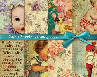 """Baby digital paper : """"Baby Sheets"""" -  Digital Paper, Altered Art, Decoupage Paper, Scrapbook Paper, Vintage baby paper, Collage Sheet"""