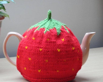 Hand knitted strawberry teapot cosy with a knitted lining, Small strawberry tea cosy, Medium strawberry tea cosy, Large strawberry tea cosy