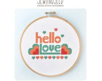 Hello Love Cross Stitch Pattern Instant Download