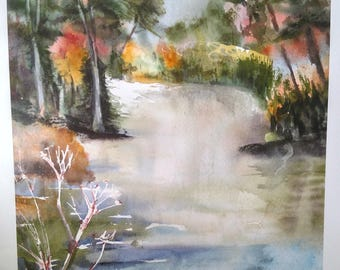 Sunlit Stream Giclee Watercolor Print
