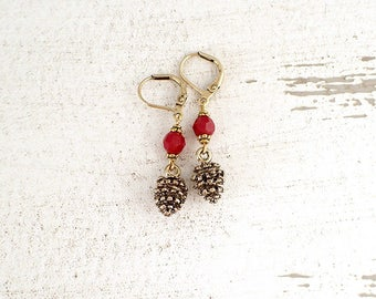 Pine Cone Earrings with Red Swarovski Crystal Beads and Antiqued Gold Colored Lever Back Earrings